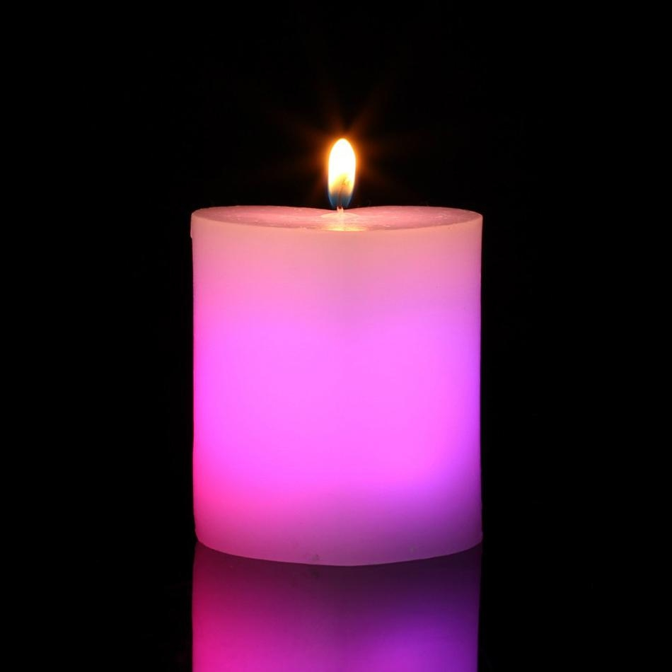 Romantic Valentine's Day Pillar heart Shape Color changing  LED candles 2