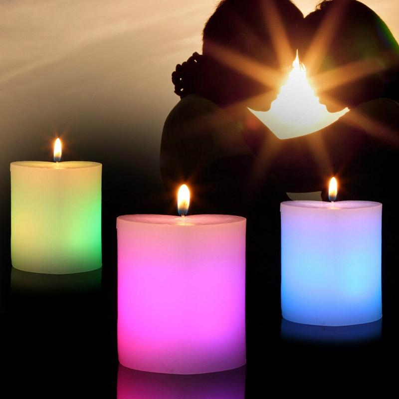 Romantic Valentine's Day Pillar heart Shape Color changing  LED candles 1