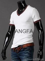 2014 men stylish fashion t shirts slim v neck t shirts free shipping