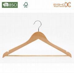 Eisho Locking Bar Cherry Wooden Coat Hanger