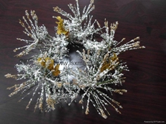 14 Inch Flocked Pine Needle Wreath Christmas Candle Wreath Candle Ring Wreath
