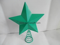 Painted Metal Star Tree Topper With Coil Spring Base