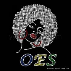 hot sale OES afro girl rhinestone transfers
