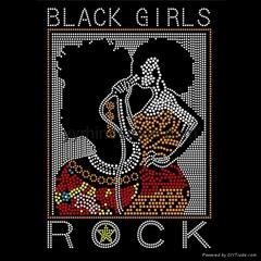 Black Girls Rock Hotfix Motif Rhinestone Transfer