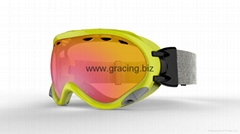 Spherical double lenses goggle for snowboard