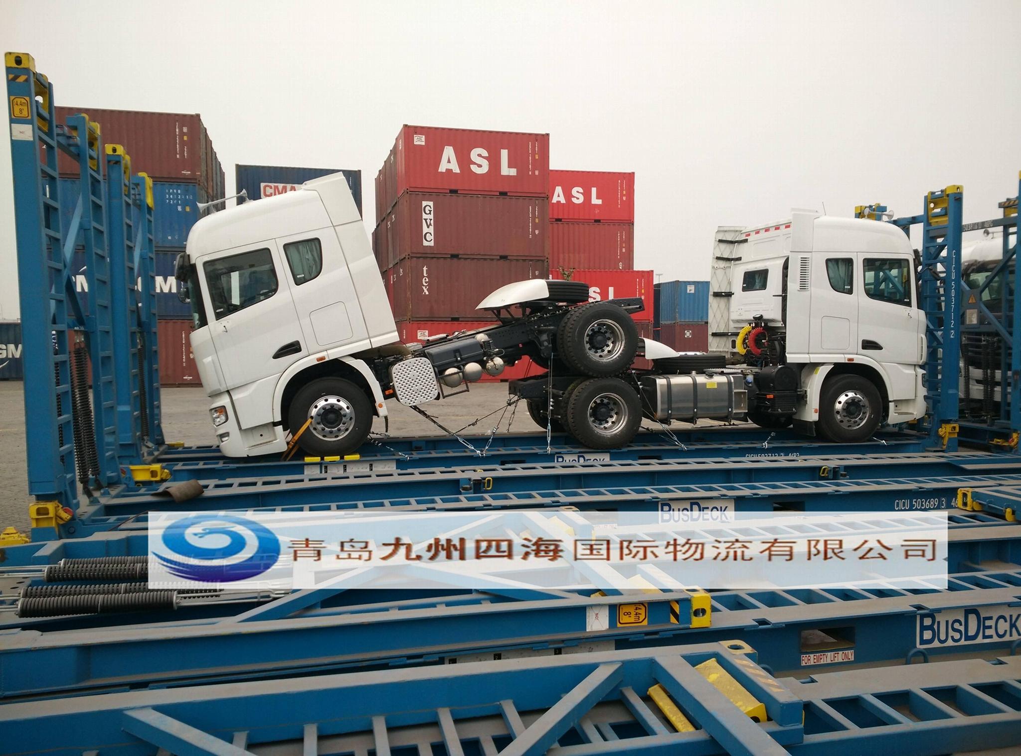 青岛港大件货物框架箱开顶箱海运订舱装箱加固 1