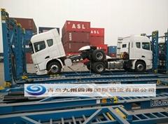 青島港大件貨物框架箱開頂箱海運訂艙裝箱加固
