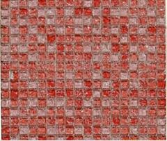 红色冰裂水晶玻璃马赛克背景墙