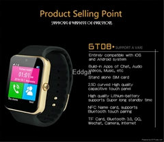 "Bluetooth Smart Wristband GT08 1.54"" Camera Memory Card and SIM Card"