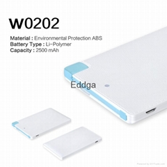 Built-in Micro USB Cable Utral Thin Credit Card Size Power Bank 2500mah