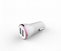 Customize high quality fashion15W 3A Dual USB Port Car Mobile Charger for iPhone