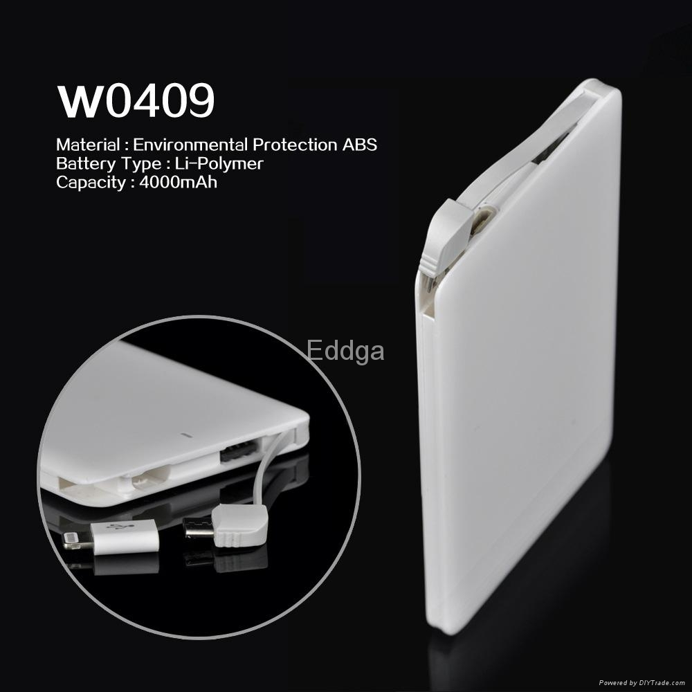 Slim Cable Portable Battery Charger 4000mAh External Power Bank  For Apple