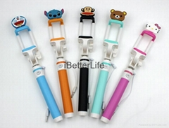 Mini Handheld Wired Remote Shutter Selfie Stick Monopod for iPhone 5S 6 Samsung