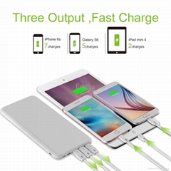 Slim Ports 20000mAh Portable Battery Charger External Power Bank  For Apple