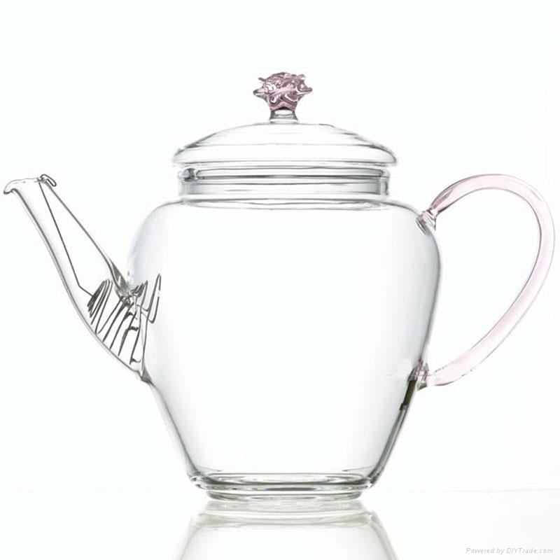 Double wall glass teapot  for flower 3
