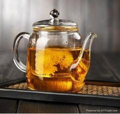 Flower glass teapot