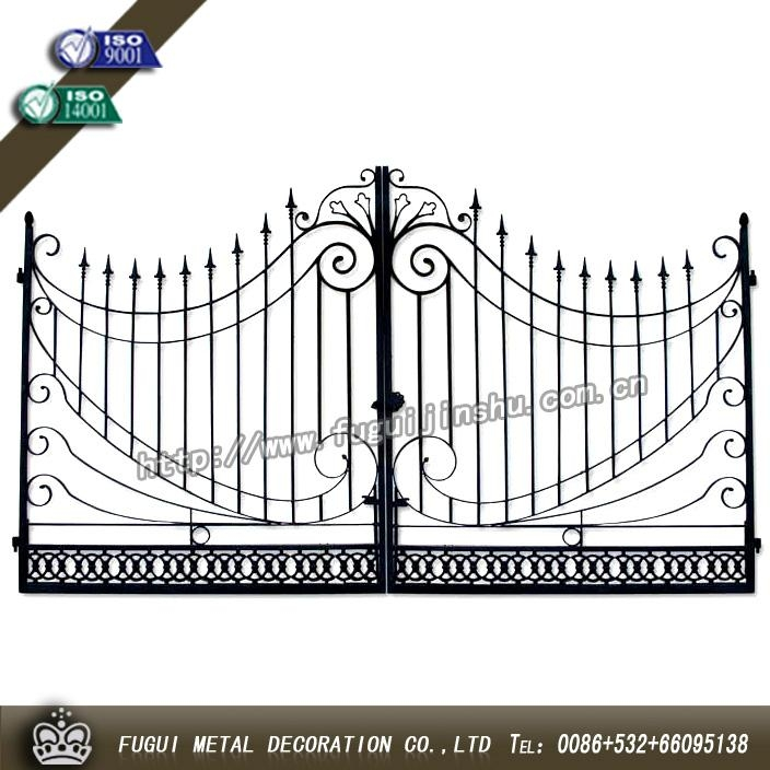 Elegant Decorative wrought iron gate main swinging gate 2