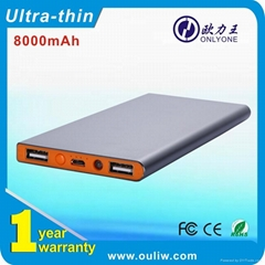 Ultra thin with double outport USB Power bank