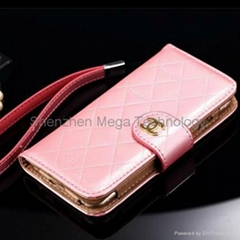 Brand Iphone 6 6plus shiny PU Leather wallet phone case cover with mirror
