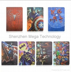 the avengers Iron man bat man Spider man PU Phone cover for Ipad air 2 ipad 6
