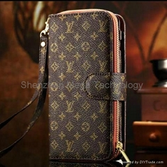New S6 Brand fashion 2 in 1 LV Zipper Wallet Phone case cover with card slots (Hot Product - 1*)