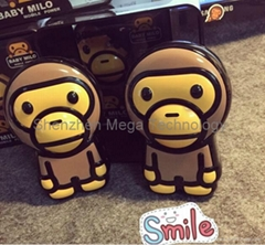 Hot sell 13000mAh Baby Milo Monkey cartoon cute power bank phone charger