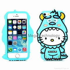 3D Hello Kitty Wear James P. Sullivan Suit Silicone Case Cover for iPhone 6