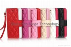 Quilted Elegant Flip Leather Soft Grid Back Skin Case Cover for iphone 6