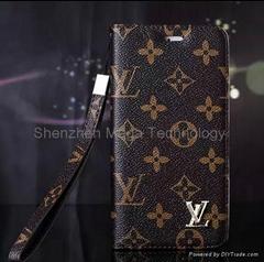 iphone 6 plus Brand    Louis PU wallet checker Plaid grid Flip Phone case cover