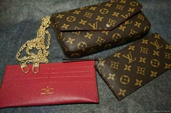 3 in 1 universal LV leather handbag phone case zipper with metal chains