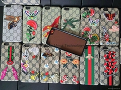 Brand New 12 colors Gucc embroidery back hard cover case for iphone 6 6 plus