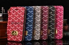 Designer Goyard cardslot leather soft tpu phone case cover for iphone for sam