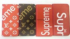 Original brand Supreme card slot LV phone folio case cover for iphone 8