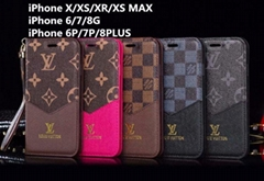 Louis Vuitton V-shaped canvas cardslot coin money phone case folio for iphone XR
