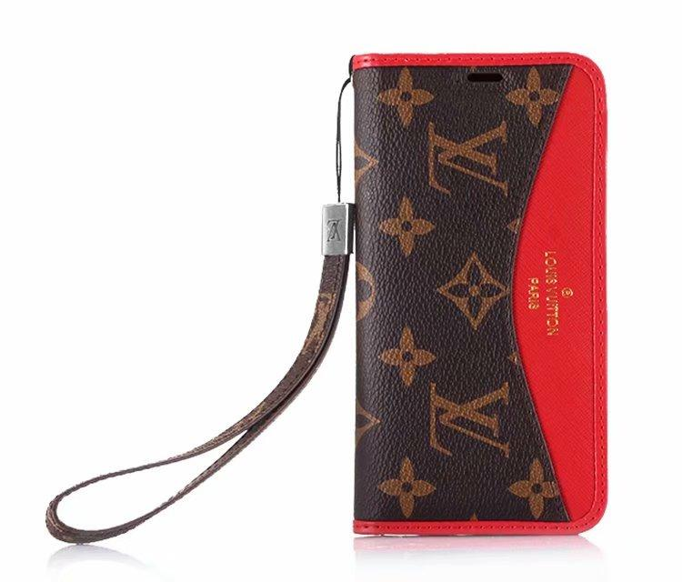 93d89f828 ... Gucci red strap leather V-shaped phone case folio for iphone X XS 7  7plus ...