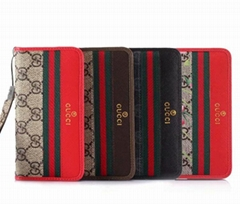 Gucci red strap leather V-shaped phone case folio for iphone X XS 7 7plus