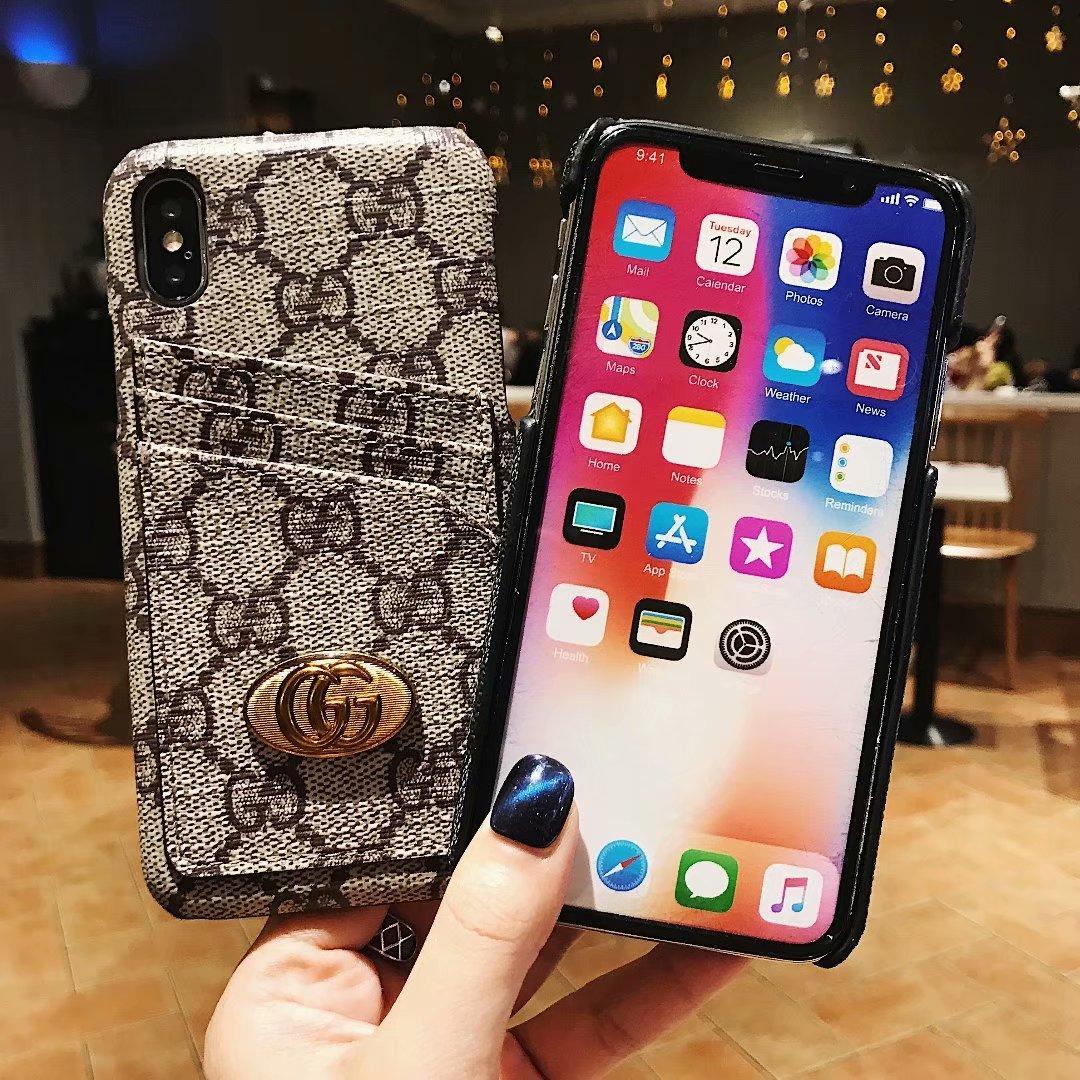 LV 3 Cardslots back hard phone case for iphone 7 7plus Sam N9 S9 S9 plus - PC-279 (China