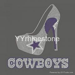 Dallas cowboy high heel shoes wholesale rhinestone transfers