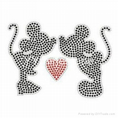 Mickey & Minnie  Rhinestone Transfer Bling Iron On