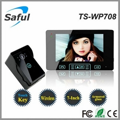 Saful TS-WP708 High-strength tempering glass Wireless Video Door Phone