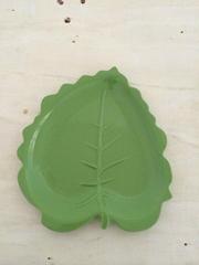green leaf melamine plate