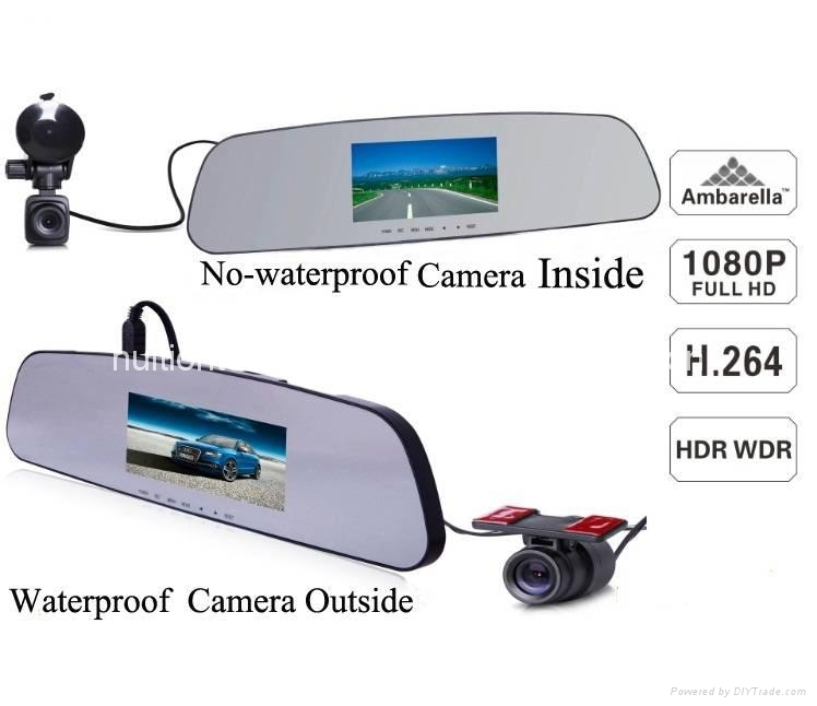 2014 new waterproof 4.3inch LCD a7 ambarella rearview mirror vechicle gps car dv 1