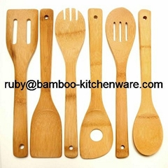 Bamboo Wood Kitchen Dining Cultery Cooking Utensil Set
