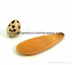 Mini Canapes Bamboo Wooden Flat Salt Pepper Spices Spoon Serving Dish