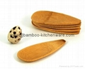 Mini Canapes Bamboo Wooden Flat Salt Pepper Spices Spoon Serving Dish 2