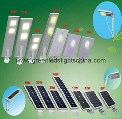 CE RoHS 5-60w All in One LED Solar Street Light With Battery