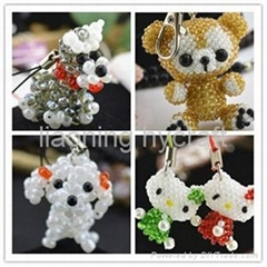 sell cute beaded doll keychain mobile phone charms accessories promotion gift