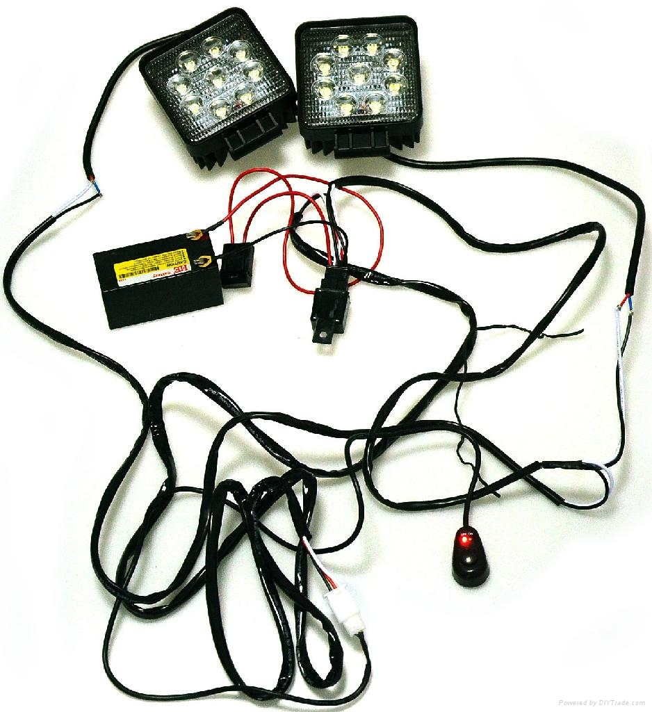 Universal led light bar wiring leg harness