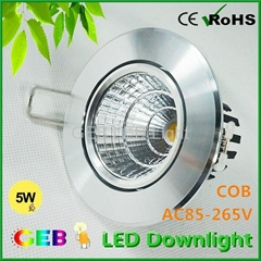 CE ROHS 5W 10W 15W 20W COB LED Downlight  Recessed Fixture Lights CE RoHS