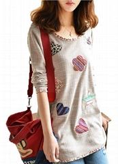 Fashion Women's Round Neck Printed T-Shirt Top Blouse